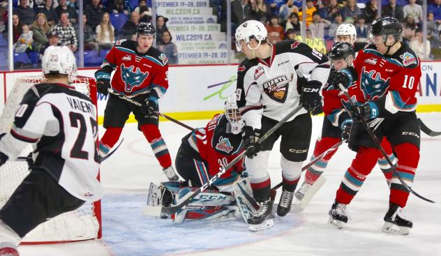 Vancouver Giants centre Dawson Holt in the crease against the Kelowna Rockets