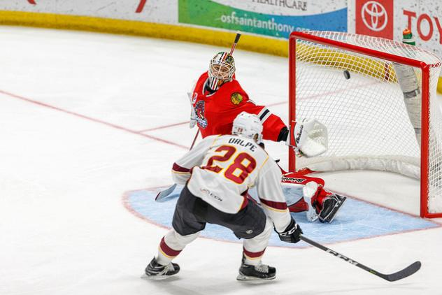 Zac Dalpe of the Cleveland Monsters scores against the Rockford IceHogs
