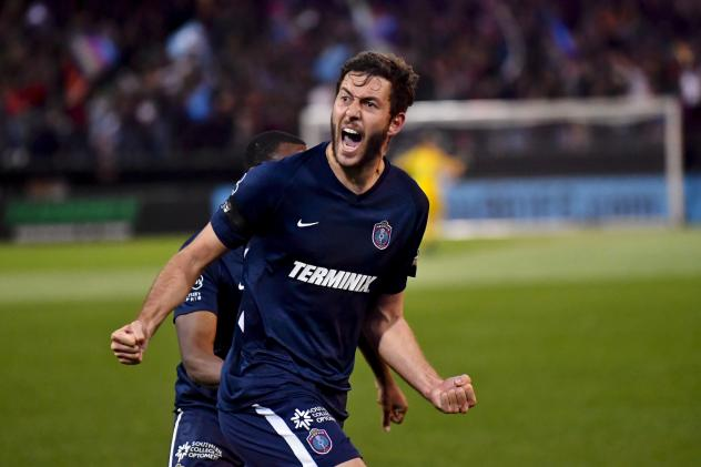Elliot Collier of Memphis 901 FC celebrates his goal