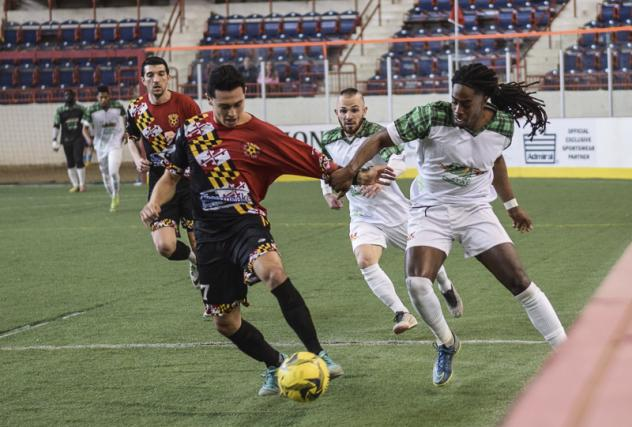 Jamie Thomas of the Baltimore Blast with possession against the Harrisburg Heat