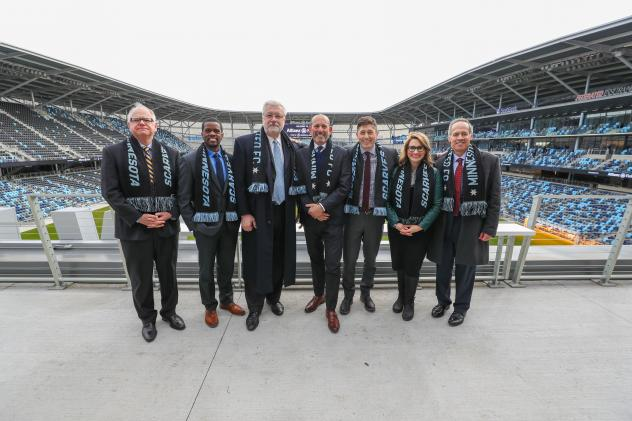 MNUFC Celebrates Scarf Raising at Allianz Field