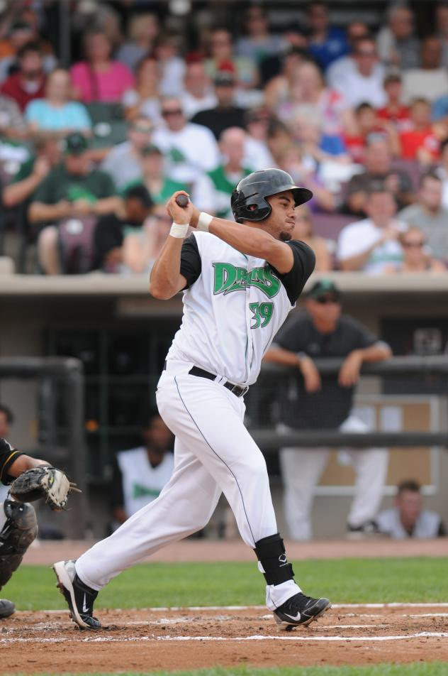 Donald Lutz batting with the Dayton Dragons