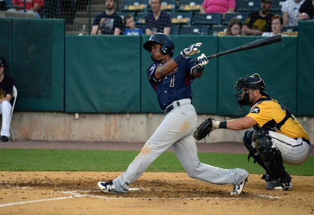 Infielder/outfielder Justin Trapp with the Somerset Patriots