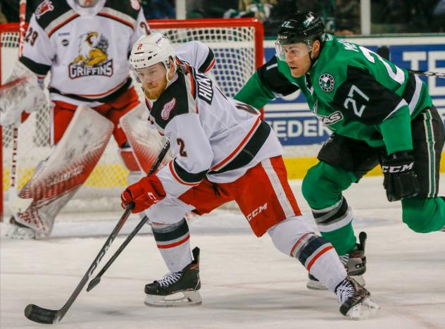 Joe Hicketts of the Grand Rapids Griffins vs. the Texas Stars