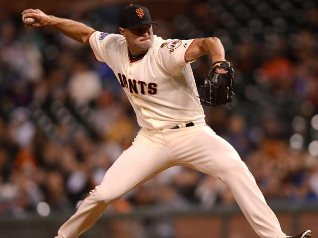 Mike Broadway pitching for the San Francisco Giants
