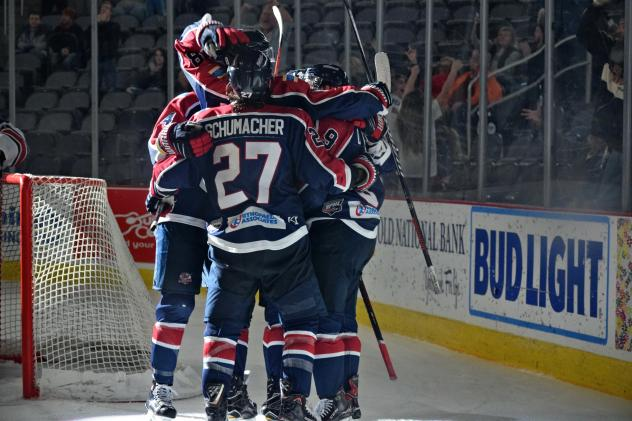 Evansville Thunderbolts celebrate a game winner