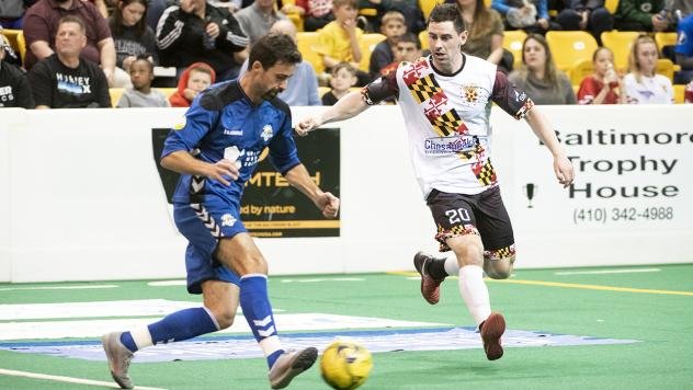 Mike Deasel of the Baltimore Blast (right) vs. the Orlando SeaWolves