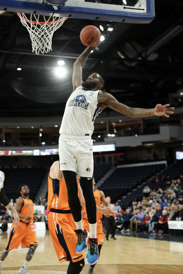 Halifax Hurricanes shooting guard Terry Thomas goes up for a dunk