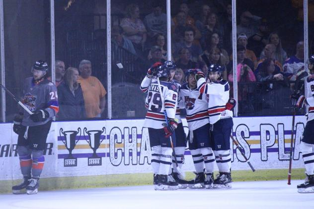 Macon Mayhem celebrate a goal against the Knoxville Ice Bears