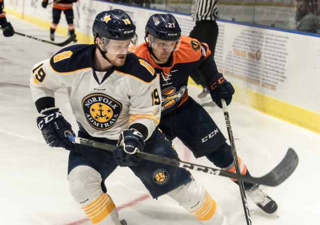 Norfolk Admirals defenseman Nick Ferguson (left) vs. the Greenville Swamp Rabbits