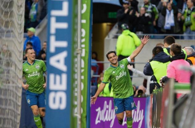 Nicolas Lodeiro celebrates his game-winning goal for Seattle Sounders FC