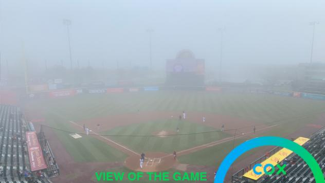The fog at Sahlen Field, home of the Buffalo Bisons