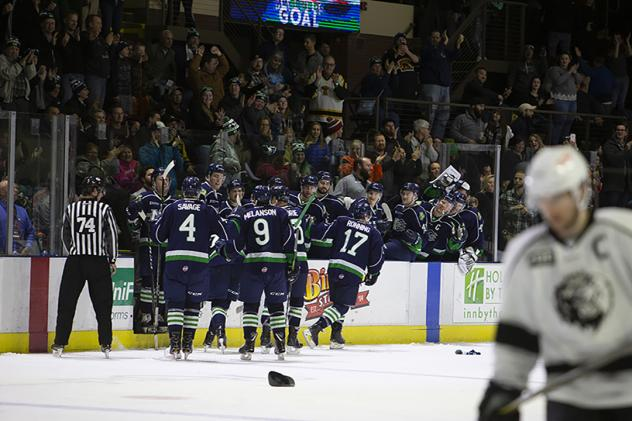 Maine Mariners exchange congratulations along the bench
