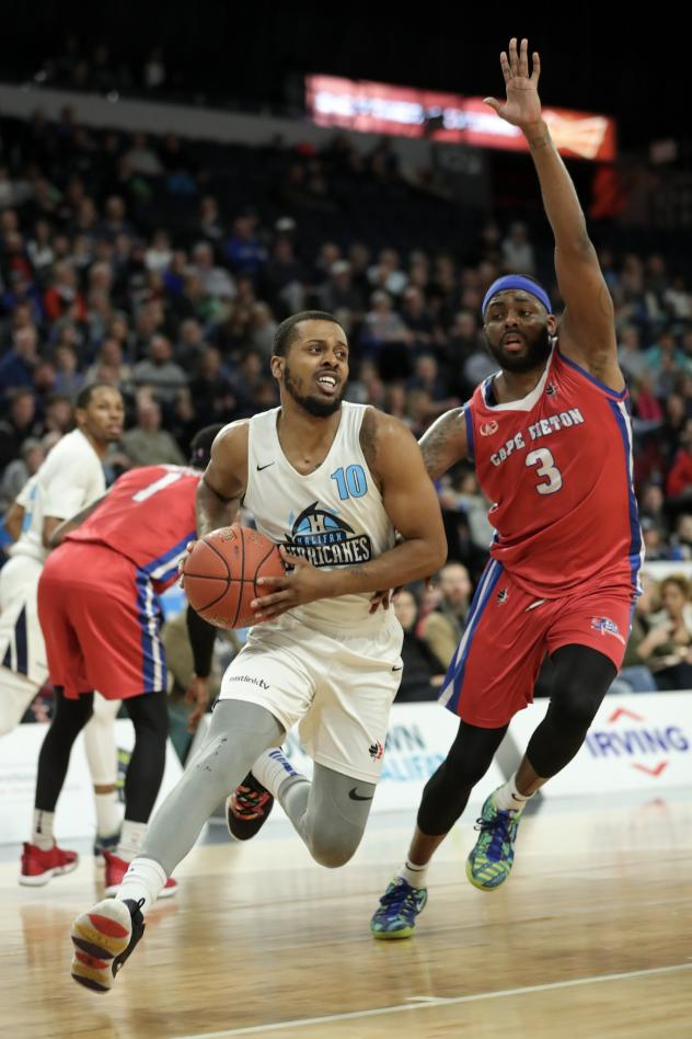 Halifax Hurricanes guard Tyler Thornton drives vs. the Cape Breton Highlanders