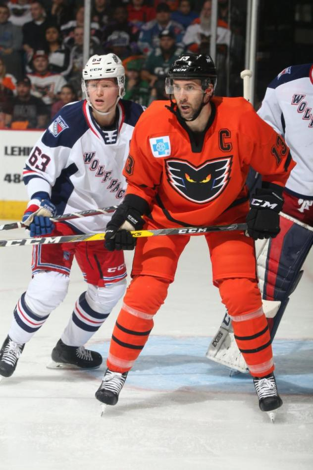Lehigh Valley Phantoms right wing Colin McDonald vs. the Hartford Wolf Pack