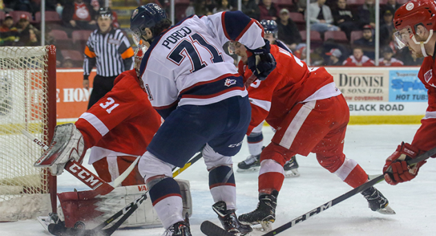 Nicholas Porco of the Saginaw Spirit vs. the Soo Greyhounds