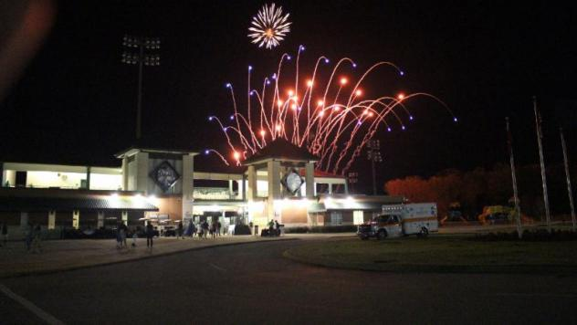 Fireworks over The Ballpark at Jackson, home of the Jackson Generals