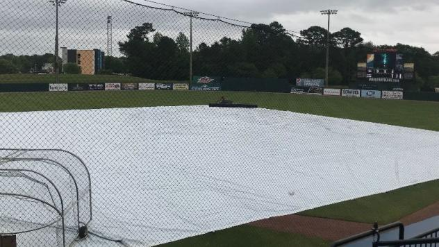 The tarp over the infield at Hank Aaron Stadium, home of the Mobile BayBears