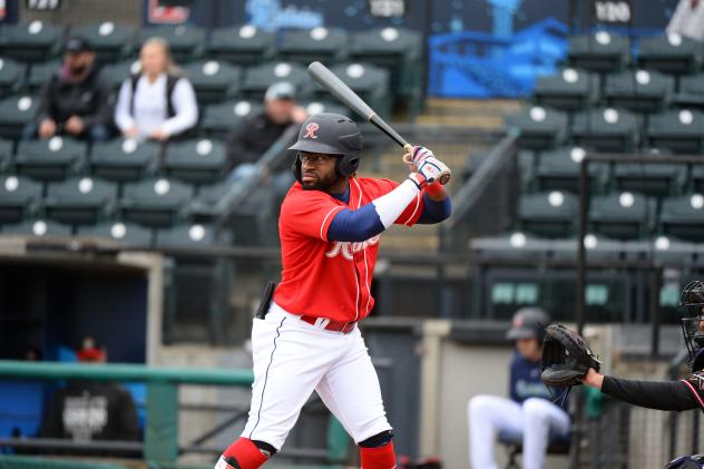 Eric Young, Jr. of the Tacoma Rainiers awaits a pitch