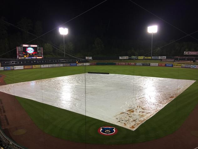 The tarp on Smokies Stadium, home of the Tennessee Smokies