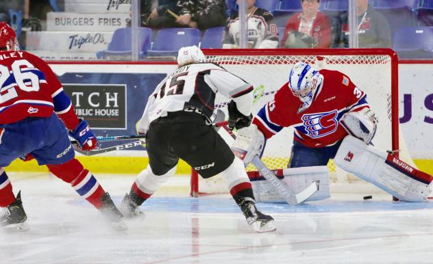 Owen Hardy of the Vancouver Giants scores vs. the Spokane Chiefs