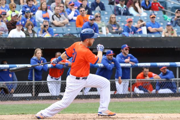 Adeiny Hechavarría of the Syracuse Mets had three hits and four RBIs during Saturday's doubleheader