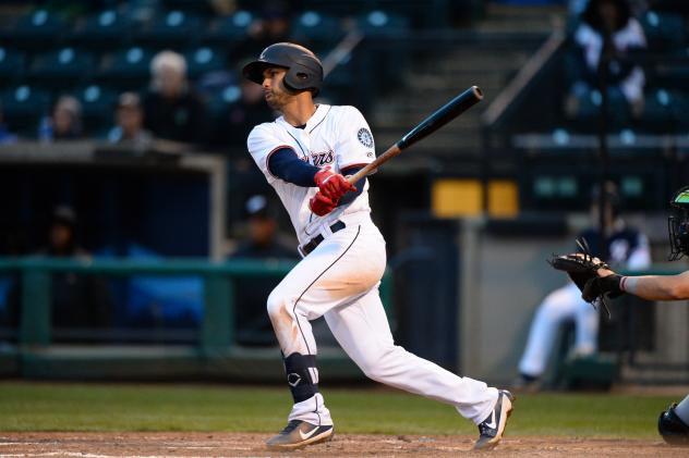 Tim Lopes of the Tacoma Rainiers takes a swing