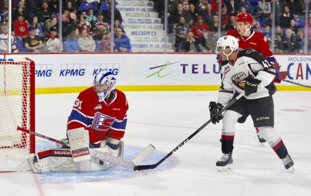Justin Sourdif of the Vancouver Giants vs. the Spokane Chiefs