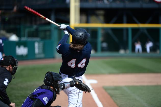 Joey Curletta of the Tacoma Rainiers takes a big swing
