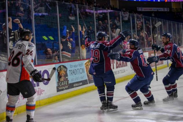 Tulsa Oilers celebrate a goal against the Kansas City Mavericks