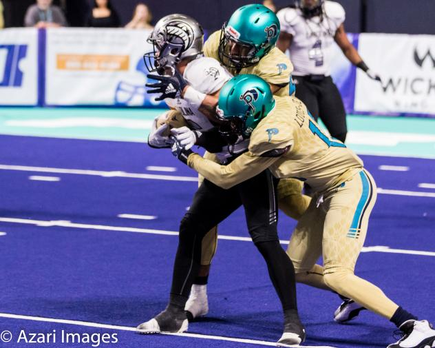 Al Louis-Jean of the Massachusetts Pirates makes a tackle against the Carolina Cobras