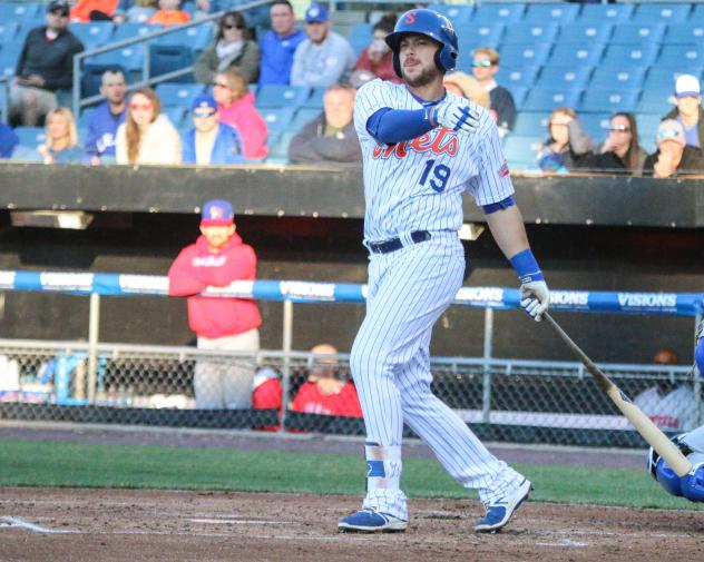 Travis Taijeron hit two home runs for the Syracuse Mets on Monday evening