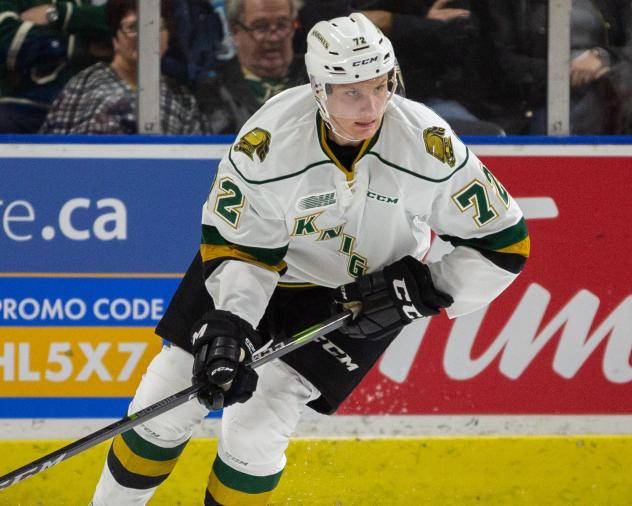 Defenseman Alec Regula with the London Knights