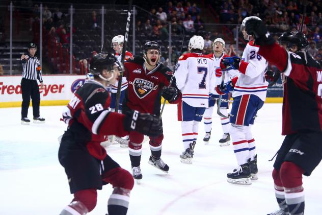 Vancouver Giants celebrate a goal against the Spokane Chiefs