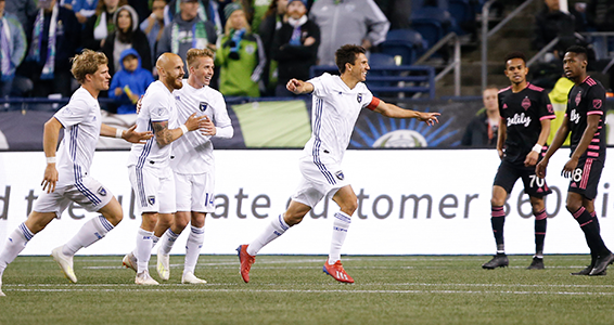 San Jose Earthquakes midfielder Shea Salinas celebrates after scoring one of his two goals