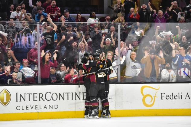 Cleveland Monsters celebrate in front of their fans