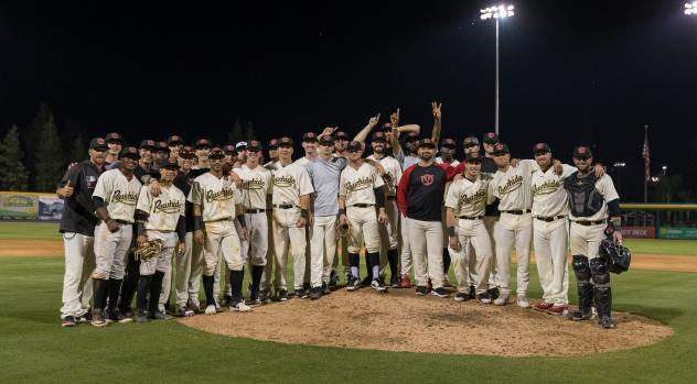 Visalia Rawhide pose after winning 13th straight game