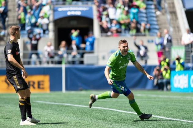 Jordan Morris of Seattle Sounders FC drew immediate blood with his goal within the first minute of play