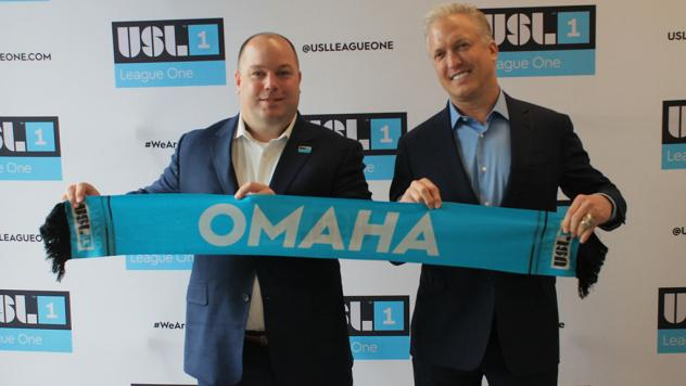 USL Executive Vice President Steven Short and Alliance Omaha Soccer CEO Gary Green