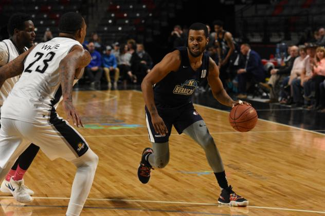 Halifax Hurricanes guard Tyler Thornton looks for an opening against the Moncton Magic