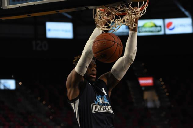Halifax Hurricanes forward Meshack Lufile dunks against the Moncton Magic