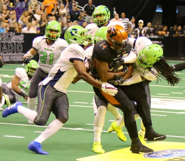 Darrell Monroe of the Arizona Rattlers is gang tackled by the Nebraska Danger