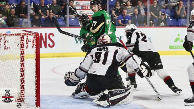 Prince Albert Raiders score against the Vancouver Giants