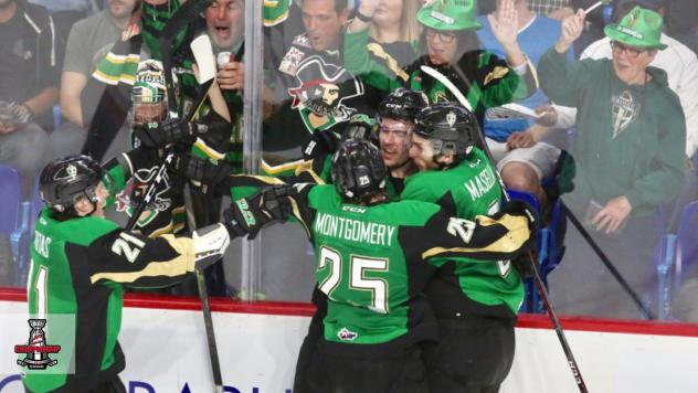Prince Albert Raiders celebrate against the Vancouver Giants