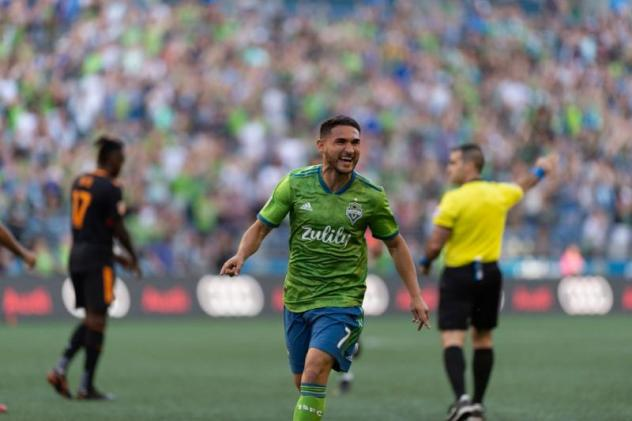 Cristian Roldan of Seattle Sounders FC scored for the second consecutive match