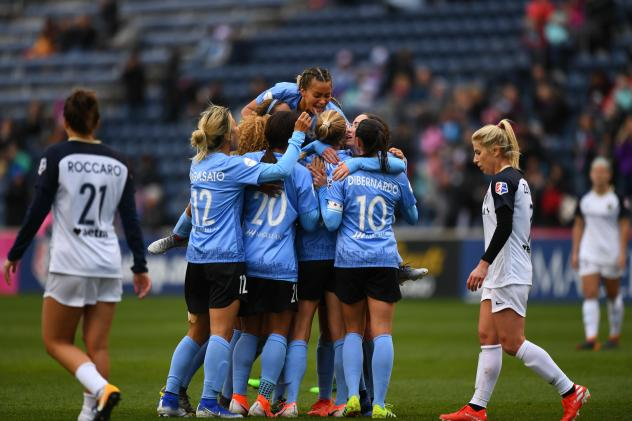 Chicago Red Stars celebrate a goal against the North Carolina Courage