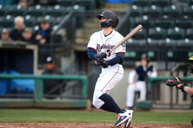 Braden Bishop of the Tacoma Rainiers at the plate