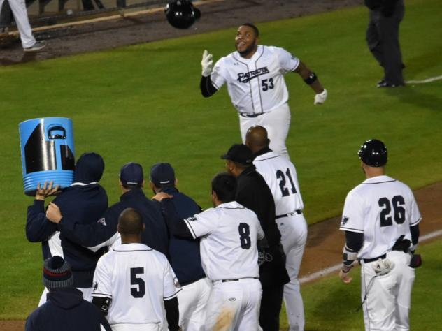 Edwin Espinal trots home after his walk-off grand slam for the Somerset Patriots