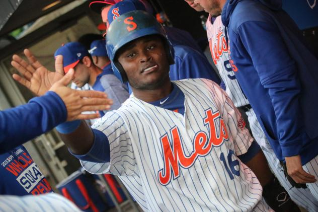 Dilson Herrera of the Syracuse Mets had three hits during Wednesday's doubleheader, including his fifth home run of the season