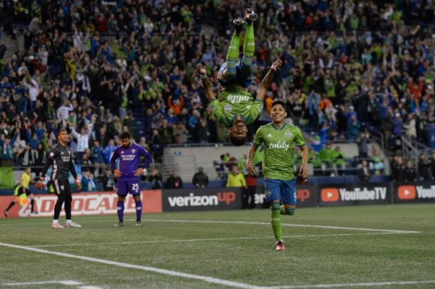 Handwalla Bwana of Seattle Sounders FC flips after scoring his first goal of the season in Wednesday's 2-1 win over Orlando City SC